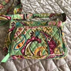 Vera Bradley green print cross body purse.